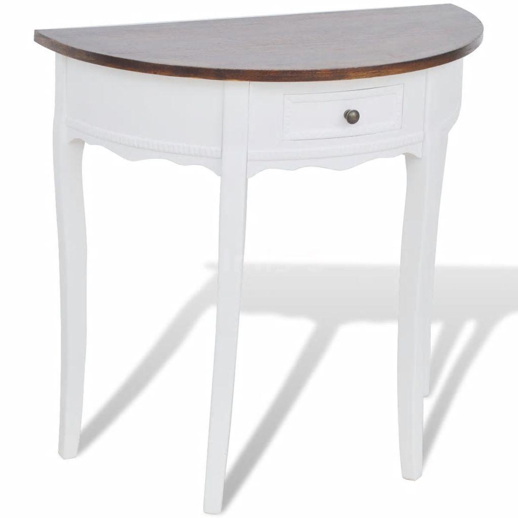 Tavolo Consolle Mezzaluna Allungabile.Tavolo Consolle Semicircolare Bianco Con Cassetto E Piano Marrone